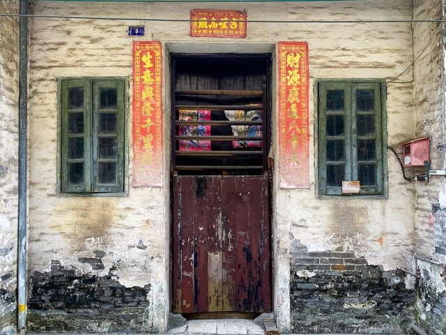 chinese-street-wooden-door-window-old picture material
