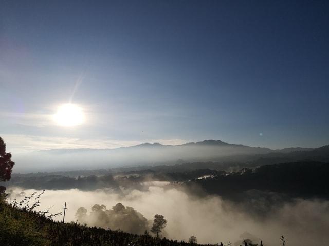 sky-dawn-mountain-mist-tree 图片素材