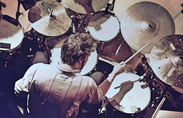 overhead-shot-of-drummer-jimmy-norden-playing-live-in-london picture material