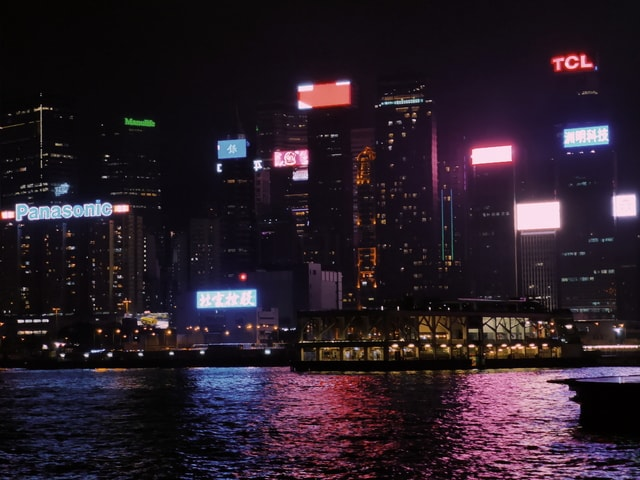 night-view-hong-kong-victoria-harbour-cityscape-metropolitan-area picture material