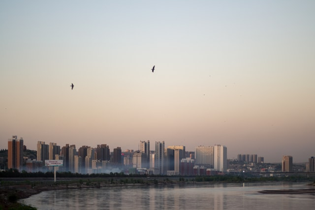vision-panoramic-dusk-building-city picture material