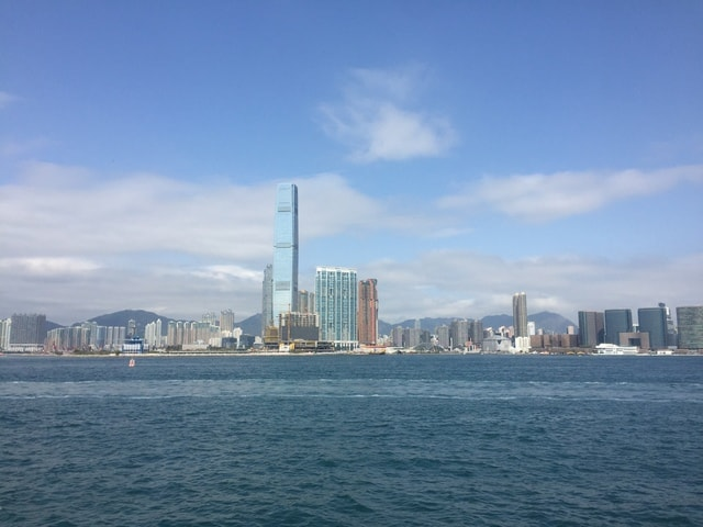 hong-kong-blue-sky-city-skyline picture material
