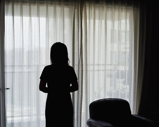 window-curtain-people-indoors-silhouette picture material
