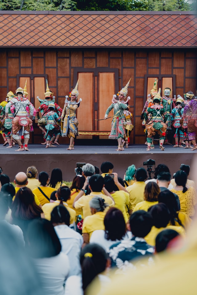 people-played-khon-performance-due-to-the-coronation-of-thai-rama-x-king-at-royal-grand-palace picture material