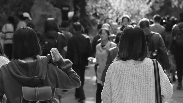 people-crowd-street-black-and-white-monochrome picture material
