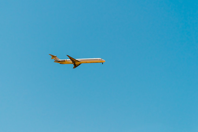 airplane-on-clear-blue-summer-sky picture material