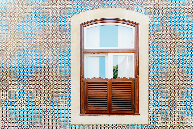 vintage-wooden-window-on-blue-tile-wall-in-lisbon-portugal picture material