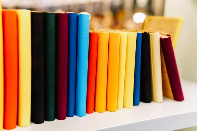 colorful-agenda-books-in-a-row-on-bookstore-shelf picture material