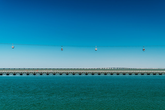 aerial-cable-cars-vasco-da-gama-bridge-in-lisbon-portugal picture material