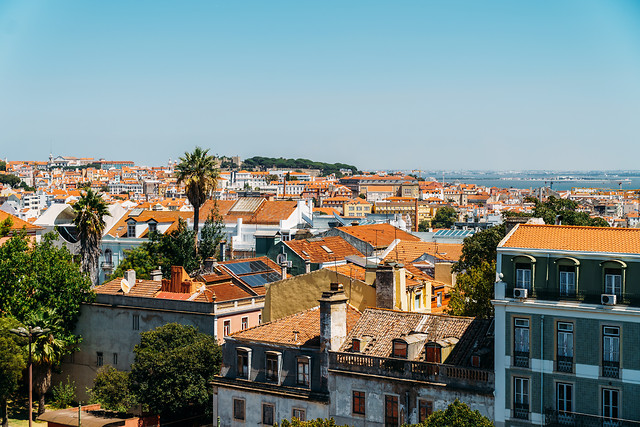 aerial-view-of-lisbon-city-in-portugal picture material