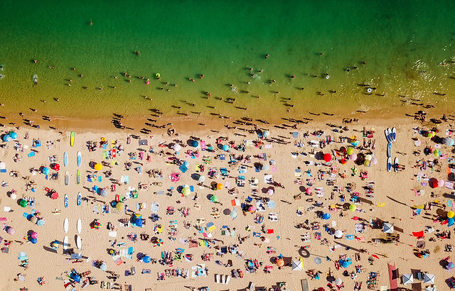 aerial-summer-view-of-people-crowd-having-fun-on-cascais-beach-in-portugal picture material