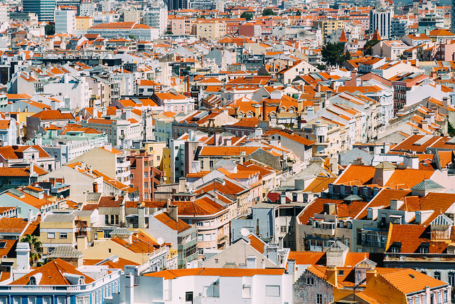 aerial-view-of-lisbon-city-home-rooftops-in-portugal picture material