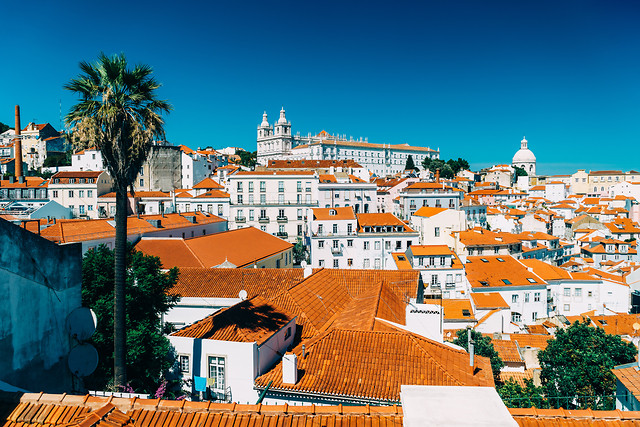 panoramic-view-of-downtown-lisbon-skyline-of-the-old-historical-city-in-portugal picture material
