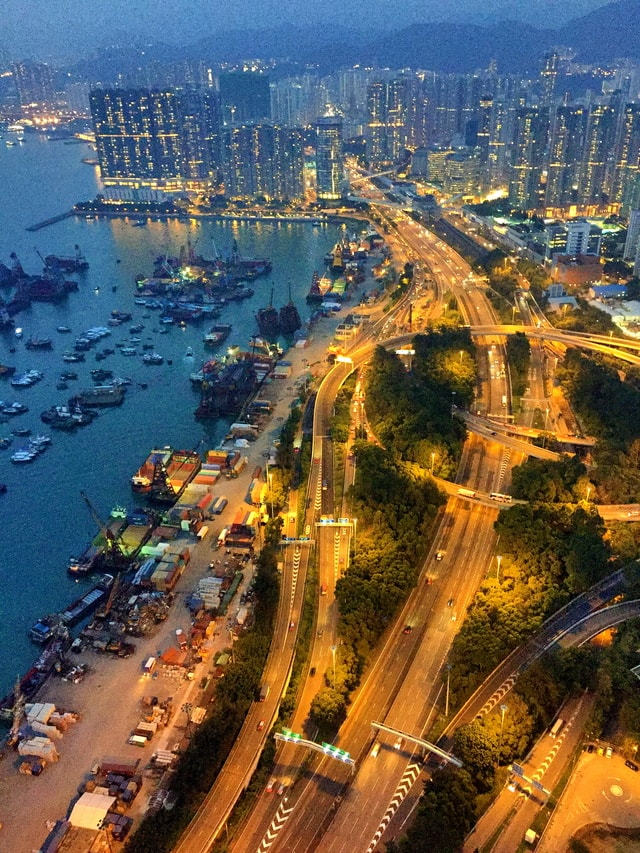 hong-kong-west-kowloon-traffic picture material