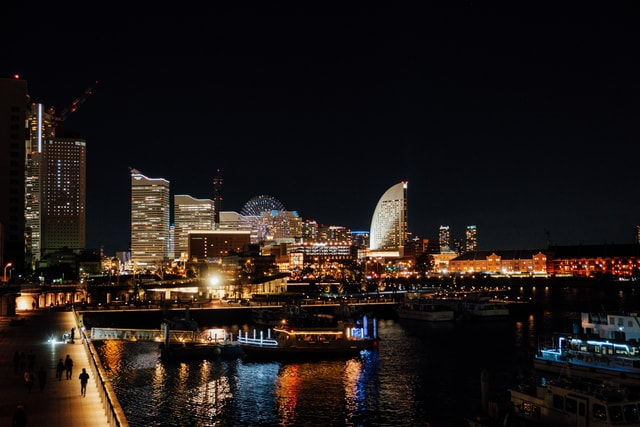 japan-yokohama-night-cityscape-city picture material