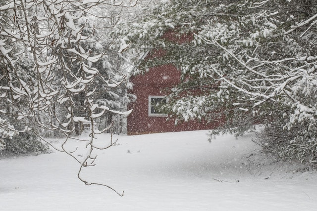 red-barn-in-snow-ii picture material