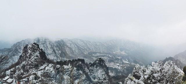snow-scene-natural-wallpaper-wudang-mountain-mountainous-landforms 图片素材