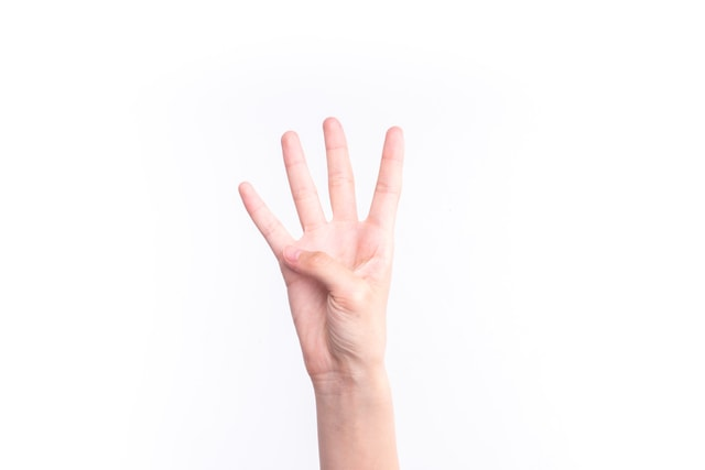 the-gesture-representing-the-number-four picture material