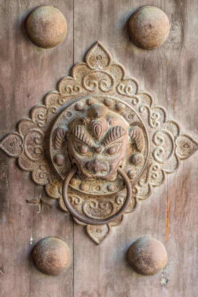 chinese-ancient-door-knocker-a-door-knocker-in-ancient-china picture material