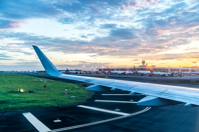 airport-airplane-in-the-sky-at-sunset picture material