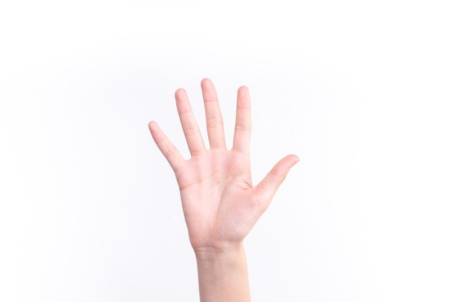 the-gesture-representing-the-number-five picture material