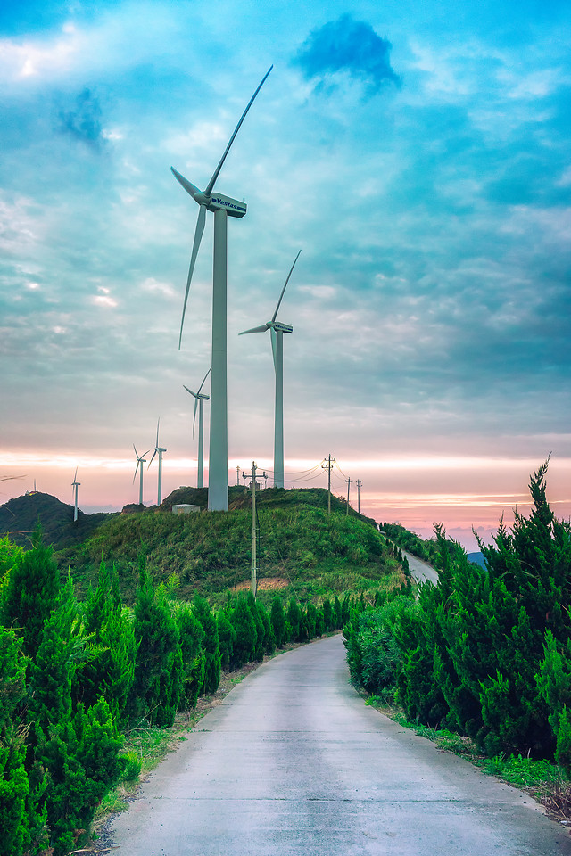windmill-sky-energy-wind-road picture material