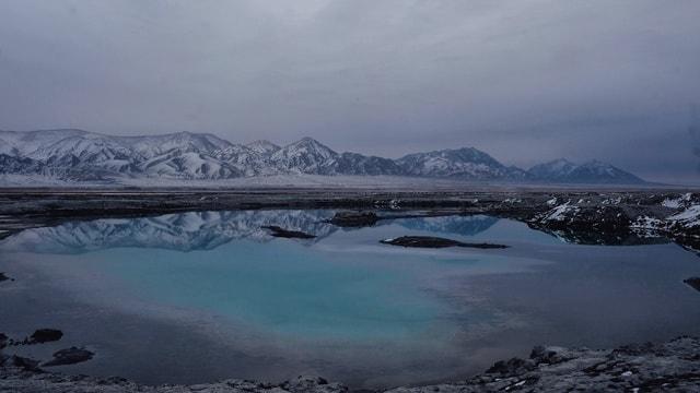 sky-mountain-mountainous-landforms-winter-lake 图片素材