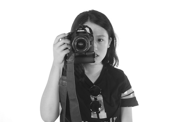 woman-girl-photograph-lens-isolated picture material