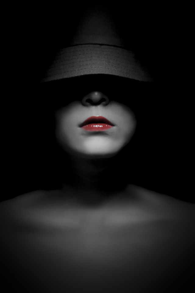 dark-girl-woman-monochrome-portrait picture material