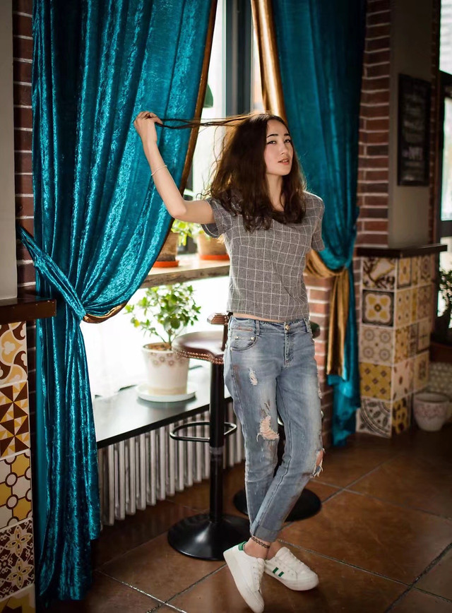 people-indoors-curtain-woman-jeans picture material