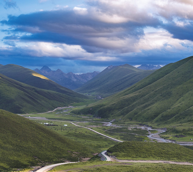 sky-mountain-valley-road-hill picture material