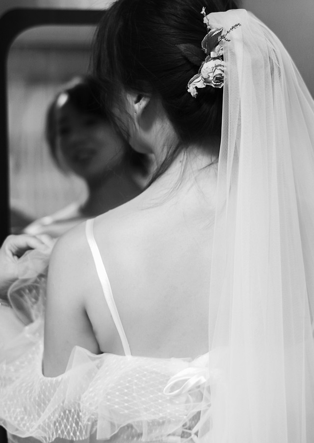 groom-bride-veil-gown-woman picture material