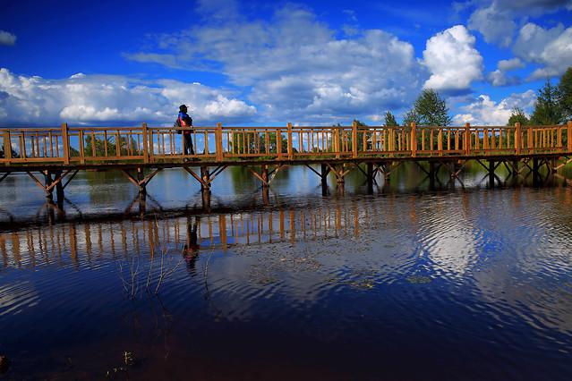 water-reflection-sunset-pier-bridge 图片素材