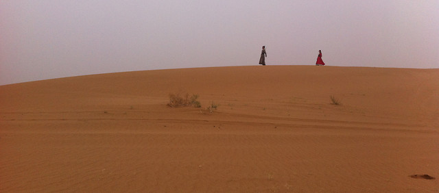 desert-sand-landscape-dune-two-people-on-the-desert picture material