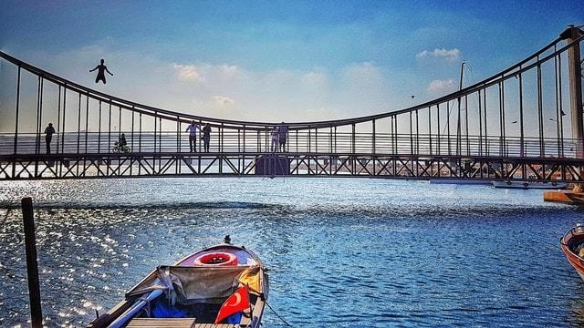 bridge-water-sky-sea-river picture material