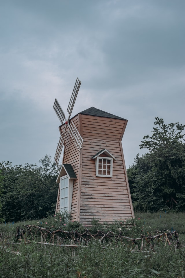 cool-tone-neutral-gray-mood-windmill-landscape picture material