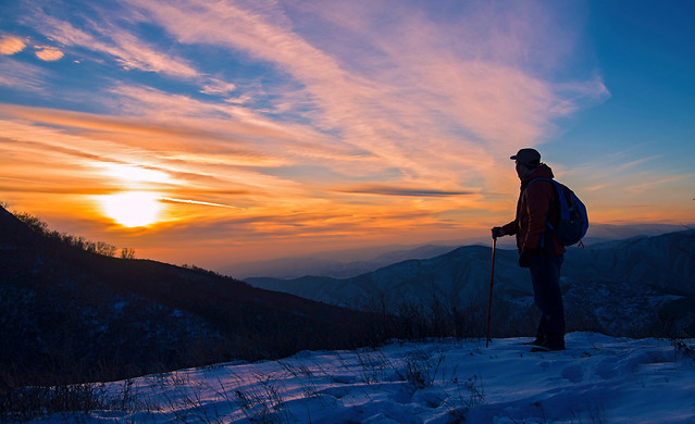 sunset-snow-mountain-dawn-sky picture material