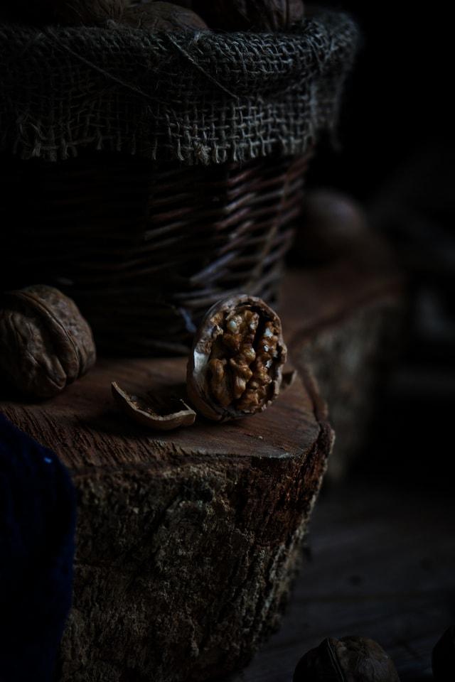 still-life-dark-tone-sen-walnut-brain picture material