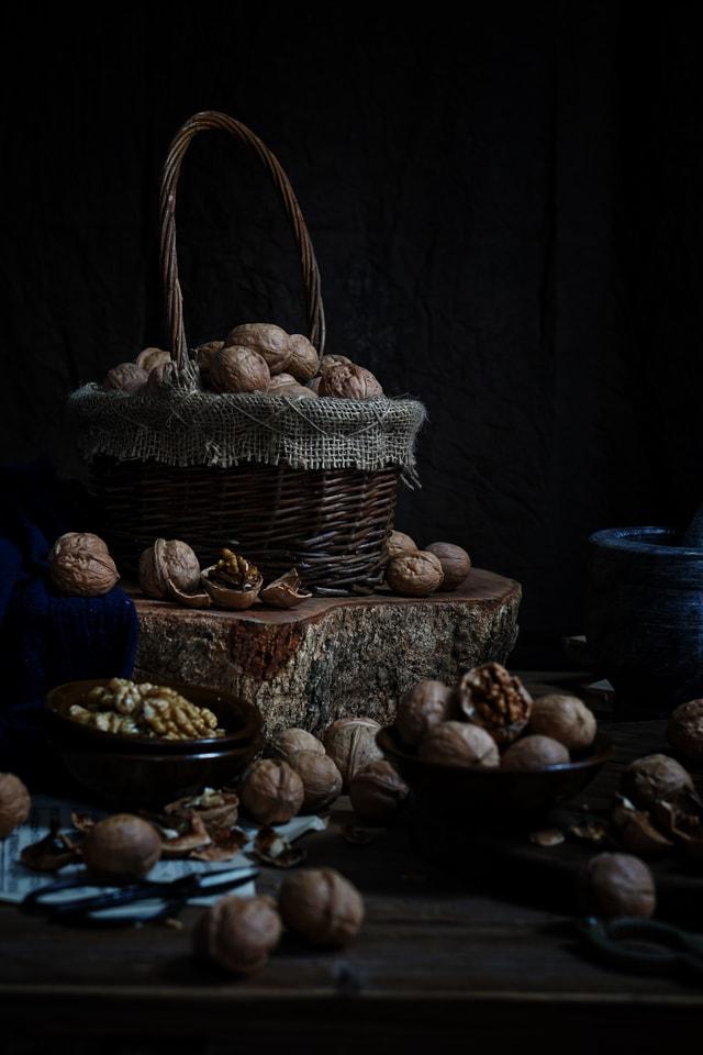 still-life-dark-tone-walnut-brain-retro picture material