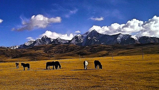 sky-mountain-cloud-pasture-hill picture material