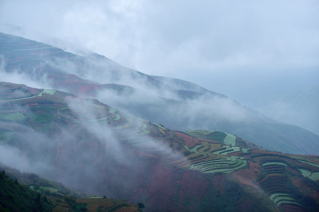 landscape-volcano-mountain-fog-no-person picture material