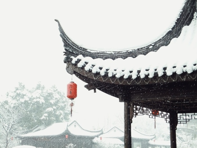 snow-chinese-architecture-winter-structure-freezing 图片素材