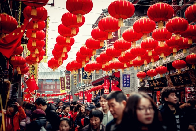 red-people-crowd-chinese-new-year-event picture material