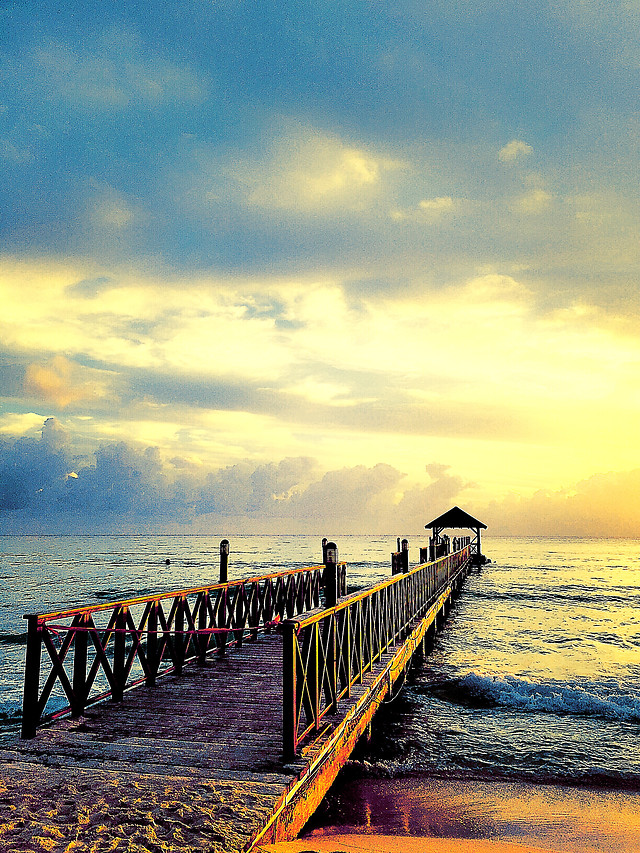water-sunset-sea-beach-pier picture material