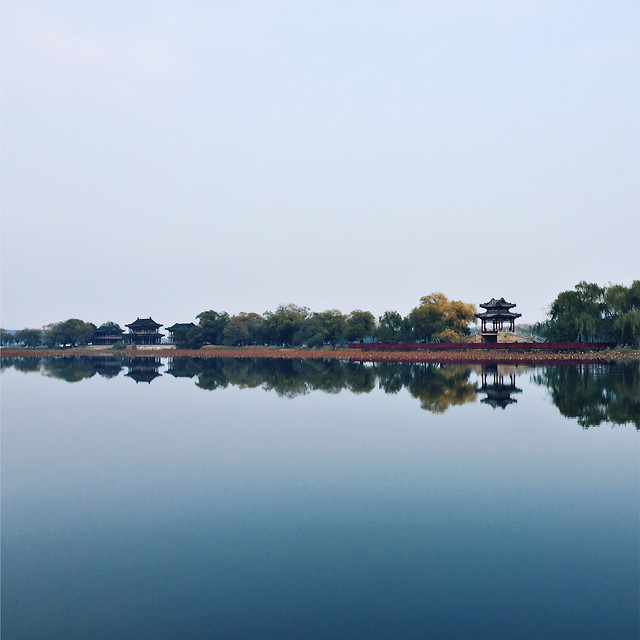 lake-river-water-reflection-tree picture material