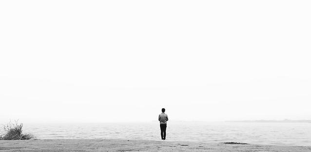 people-sea-monochrome-beach-man picture material