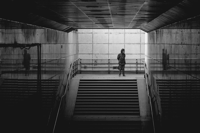 monochrome-indoors-step-black-photograph picture material