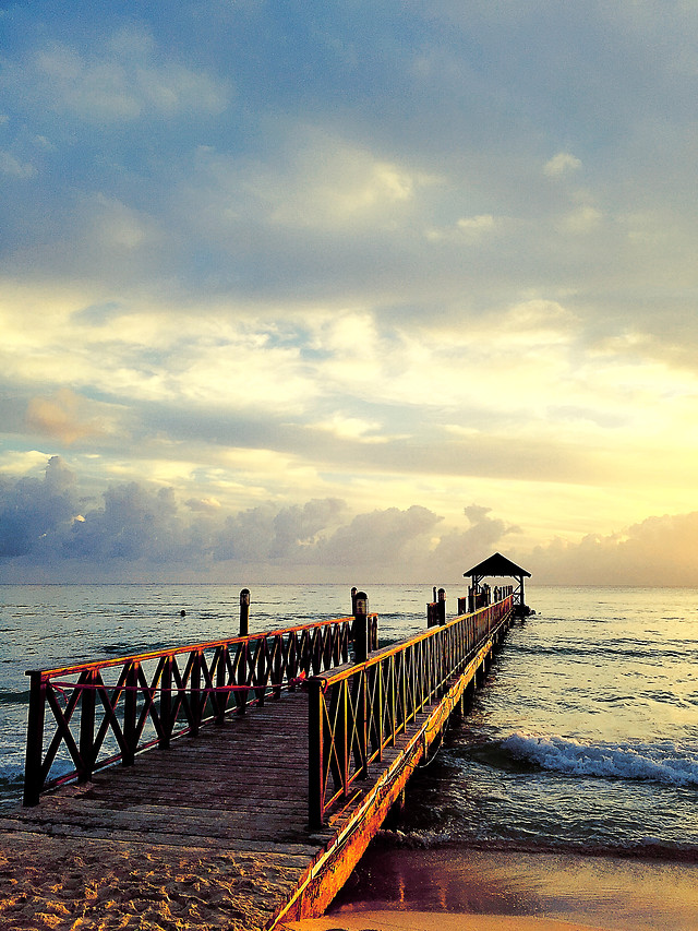 water-sea-sunset-beach-pier picture material