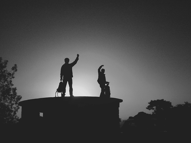 silhouette-people-backlit-one-sky picture material