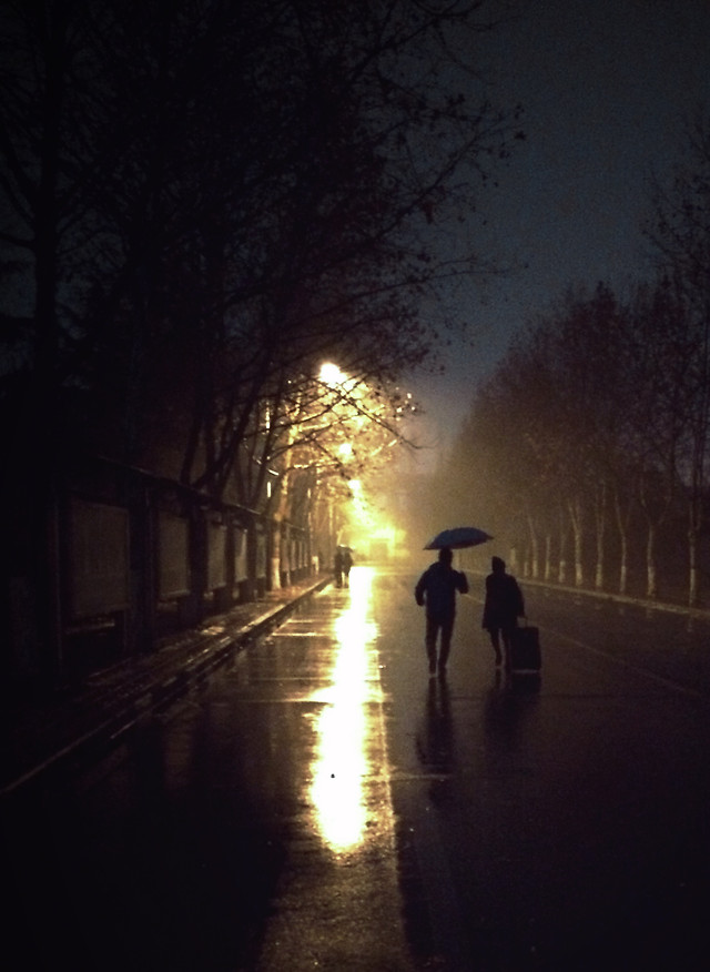 light-people-silhouette-street-rain picture material